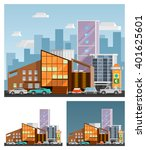 shopping mall building ... | Shutterstock .eps vector #401625601