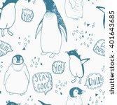 penguins lifestyle seamless...   Shutterstock .eps vector #401643685