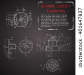 mechanical engineering drawings ... | Shutterstock .eps vector #401647837