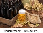 beer crate and beer glass with... | Shutterstock . vector #401651197