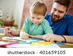 drawing with father | Shutterstock . vector #401659105