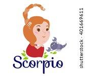 scorpio cartoon character. sign ... | Shutterstock .eps vector #401669611