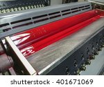 red inking unit of a sheetfed... | Shutterstock . vector #401671069