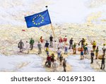 Europe Map With European Flag...