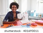 young black woman using a... | Shutterstock . vector #401693011