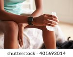 young black woman holding... | Shutterstock . vector #401693014