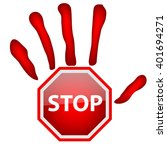 stop hand sign isolated on... | Shutterstock .eps vector #401694271