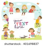 group of children playing. ... | Shutterstock .eps vector #401698837