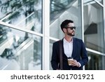 handsome young businessman with ... | Shutterstock . vector #401701921