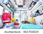 Small photo of Interior of an ambulance. High key.