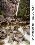 majestic lower yosemite falls... | Shutterstock . vector #401707654