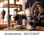 Black Retro Sewing Machine In...