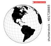 Постер, плакат: America globe hemisphere World