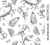 sea food seamless pattern.... | Shutterstock .eps vector #401729131