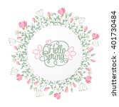 spring hand draw round frame... | Shutterstock .eps vector #401730484