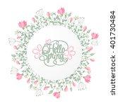 spring hand draw round frame...   Shutterstock .eps vector #401730484