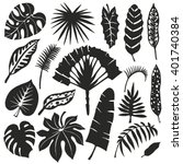 tropical palm leaves set.vector ... | Shutterstock .eps vector #401740384