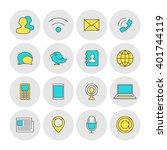 communication outline icons flat | Shutterstock .eps vector #401744119
