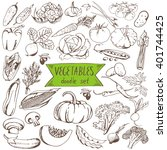 vegetables doodle set. big... | Shutterstock .eps vector #401744425