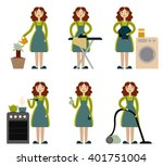 housewife set. cleaning lady.... | Shutterstock .eps vector #401751004