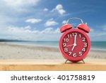 red alarm clock on wood floor... | Shutterstock . vector #401758819