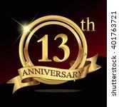 13th golden anniversary logo...   Shutterstock .eps vector #401763721