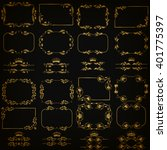 vector set of gold decorative... | Shutterstock .eps vector #401775397