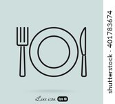 line icon  plate  knife and fork | Shutterstock .eps vector #401783674