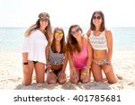 teenage friends at the beach | Shutterstock . vector #401785681