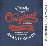 original vintage denim print... | Shutterstock .eps vector #401791081