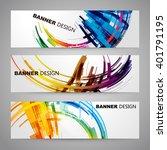 set of colorful flyer  brochure ... | Shutterstock .eps vector #401791195