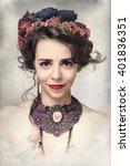 vintage artistic portrait of... | Shutterstock . vector #401836351