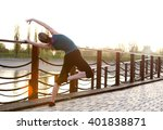 fitness woman stretching and... | Shutterstock . vector #401838871