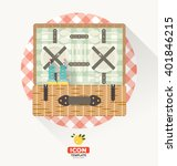 vector picnic basket icon in... | Shutterstock .eps vector #401846215