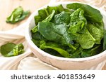 spinach leaves in plate on... | Shutterstock . vector #401853649