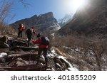 trekkers are walking in the... | Shutterstock . vector #401855209