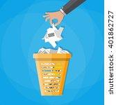 cartoon businessman hand put... | Shutterstock .eps vector #401862727
