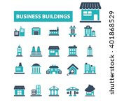 business buildings icons  | Shutterstock .eps vector #401868529