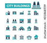 city buildings icons  | Shutterstock .eps vector #401868559