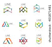 set of linear abstract logos ... | Shutterstock .eps vector #401871481