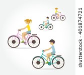 man and woman riding bicycles... | Shutterstock .eps vector #401874721