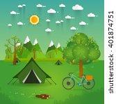 summer landscape. morning... | Shutterstock .eps vector #401874751