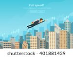 businessman flying by the... | Shutterstock .eps vector #401881429
