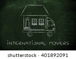 international movers  house... | Shutterstock . vector #401892091