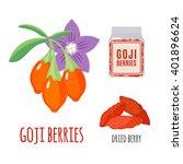 superfood goji set in flat... | Shutterstock .eps vector #401896624