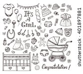 big set of cute hand drawn baby ... | Shutterstock .eps vector #401897881