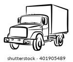 sketch of heavy truck.  | Shutterstock . vector #401905489