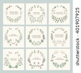 collection of floral wreath ... | Shutterstock .eps vector #401907925