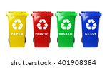 Four Colorful Recycle Bins On...