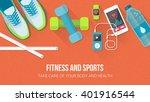 fitness  sport  diet and... | Shutterstock .eps vector #401916544